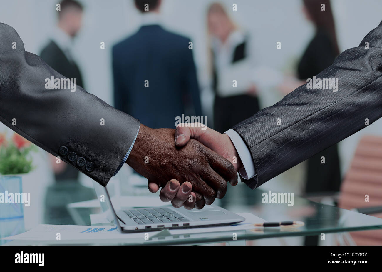 handshake of business partners.a successful and profitable agree - Stock Image