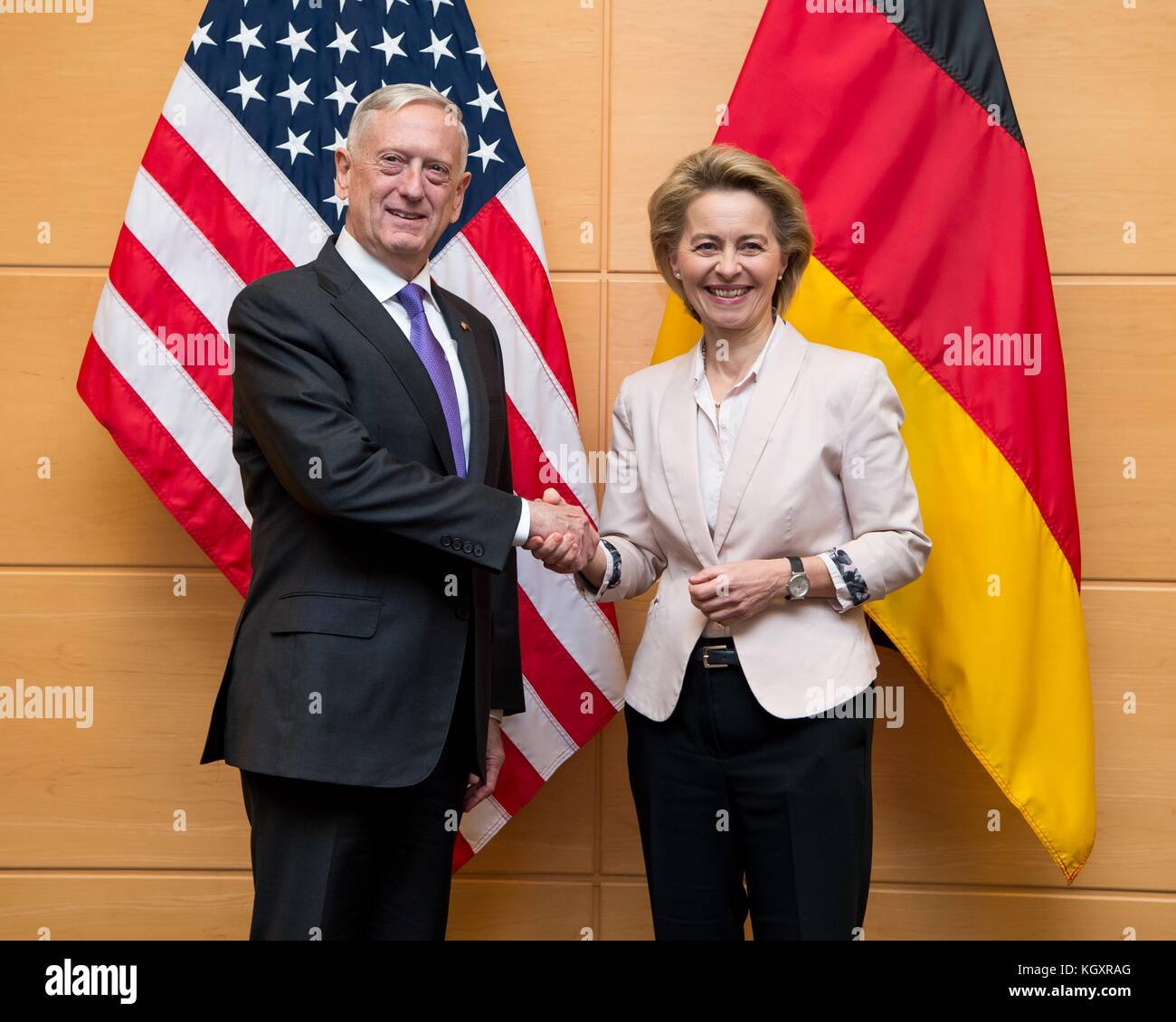 U.S. Defense Minister James Mattis (left) meets with German Defense Minister Ursula von der Leyen at the NATO Headquarters - Stock Image