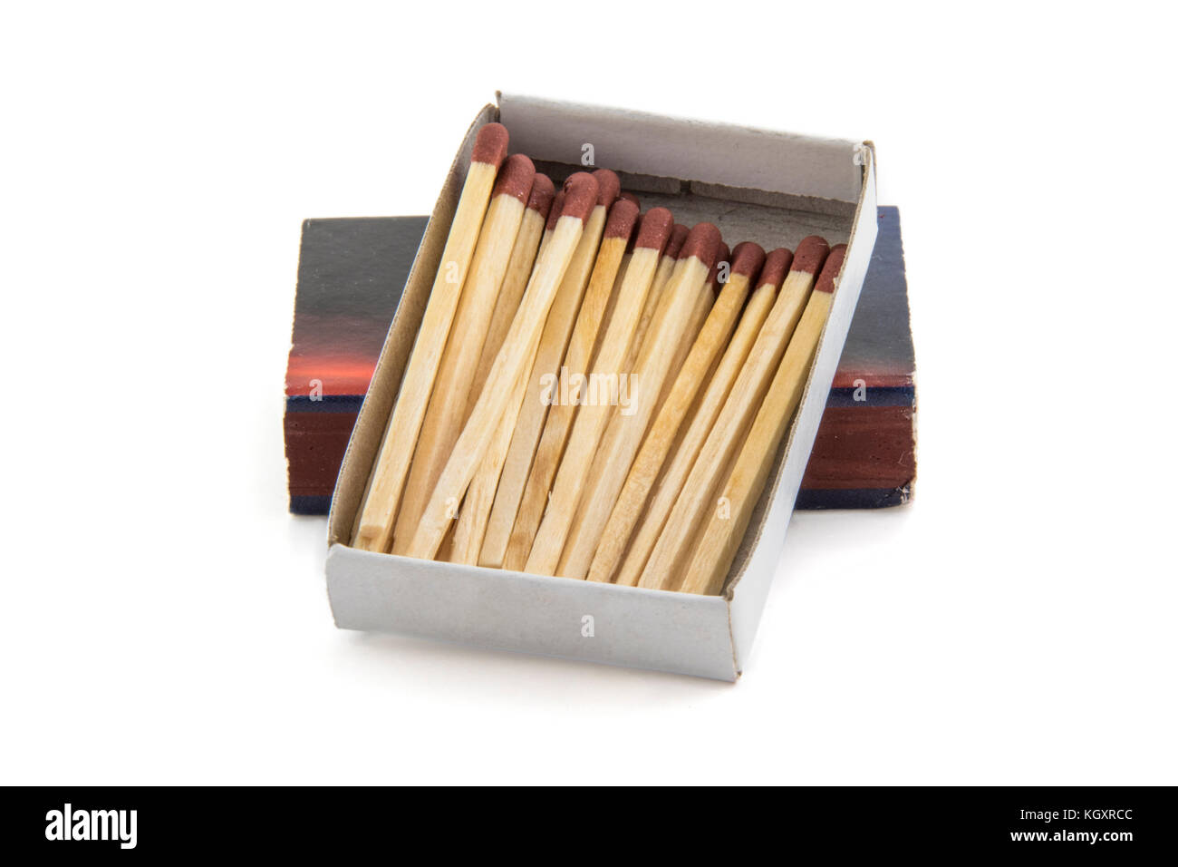 matches heap box isolated on white background - Stock Image