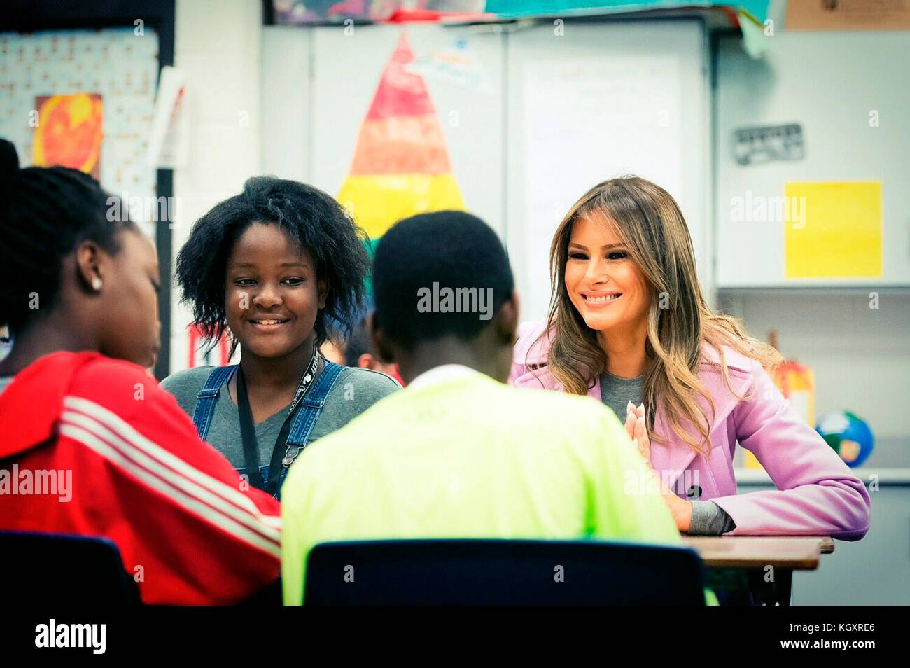 U.S. First Lady Melania Trump speaks to school children about cyber bullying to kick off National Bullying Prevention - Stock Image
