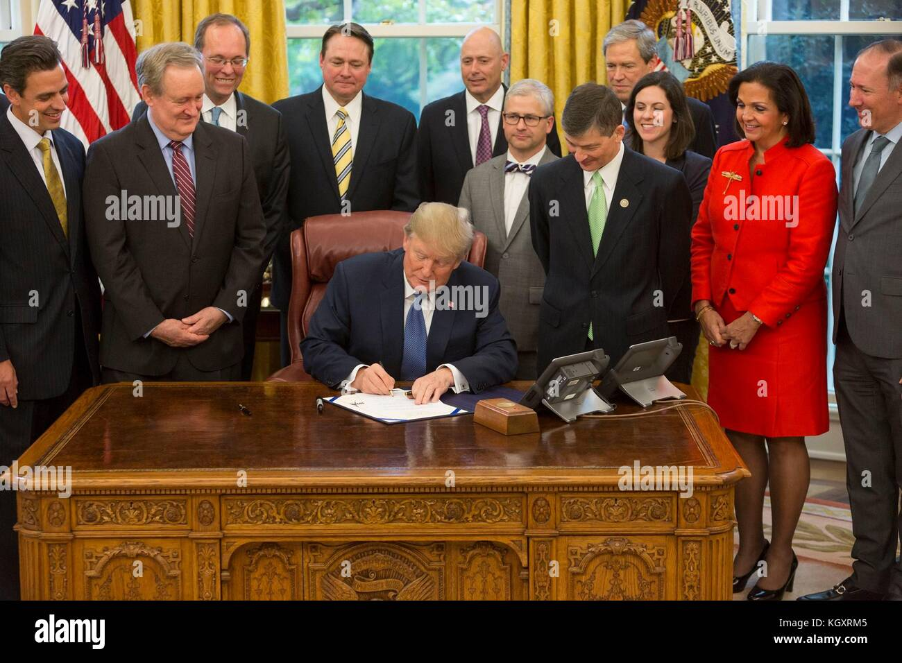 U.S. President Donald Trump signs H.J. Res.111 - the Disapproving of the Consumer Financial Protection Bureaus Arbitration - Stock Image