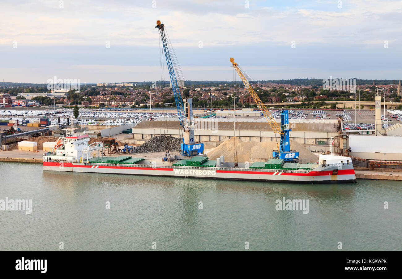 A general cargo ship named Vlieborg is docked in the port of Southampton. The ship is owned by the international - Stock Image