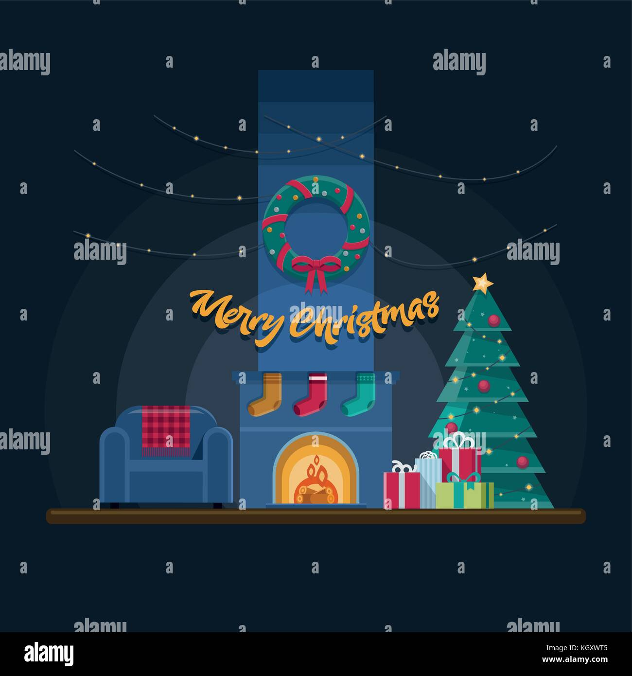 Dark Christmas living room with fireplace, armchair, lights, xmas tree, presents and decoration. Elements are layered - Stock Vector