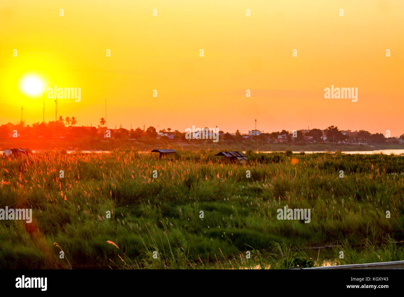 Sunset over the cityscape of Vientane, Laos Stock Photo