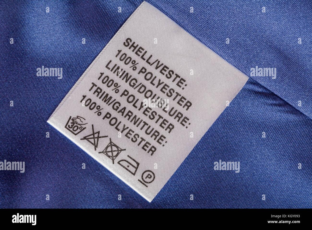 Jacket Clothing Symbols Washing Care Instructions Lining Stock