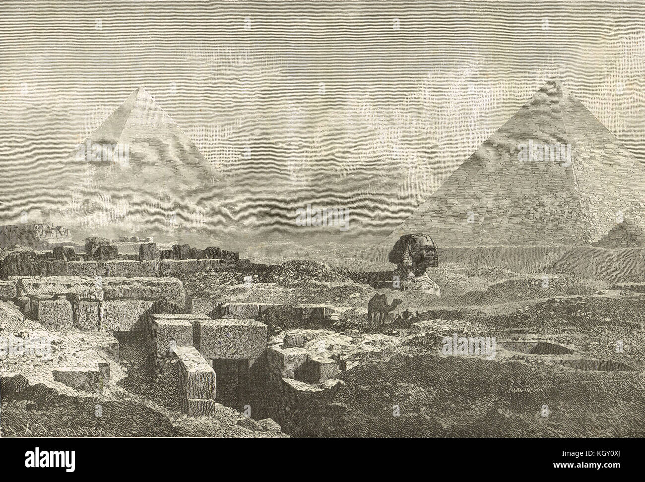 The Great Sphinx of Giza and the Pyramids, Egypt, 19th century view - Stock Image