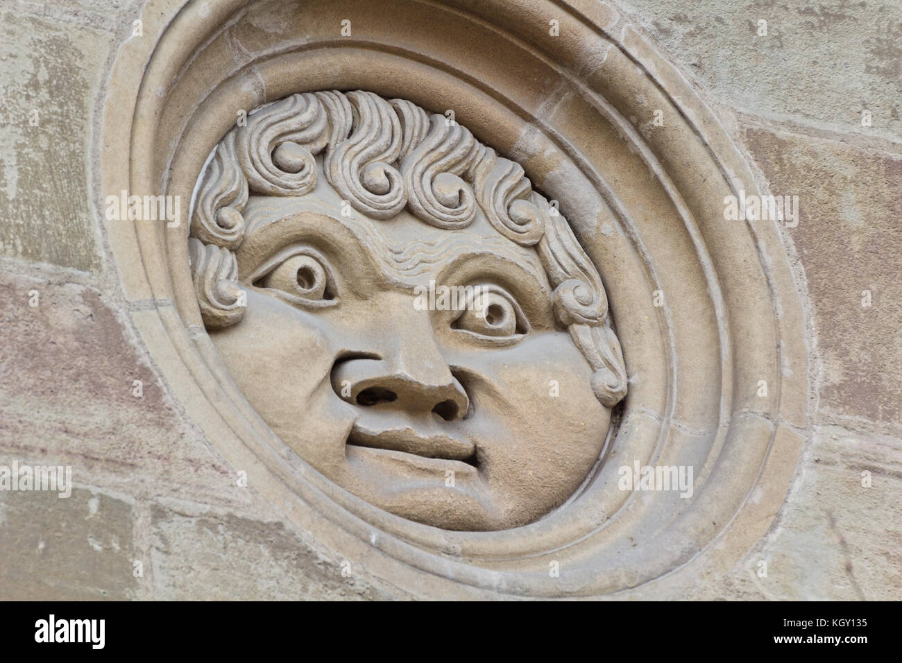 Apollo's head - Saint Peter's Cathedral -Geneva - Stock Image