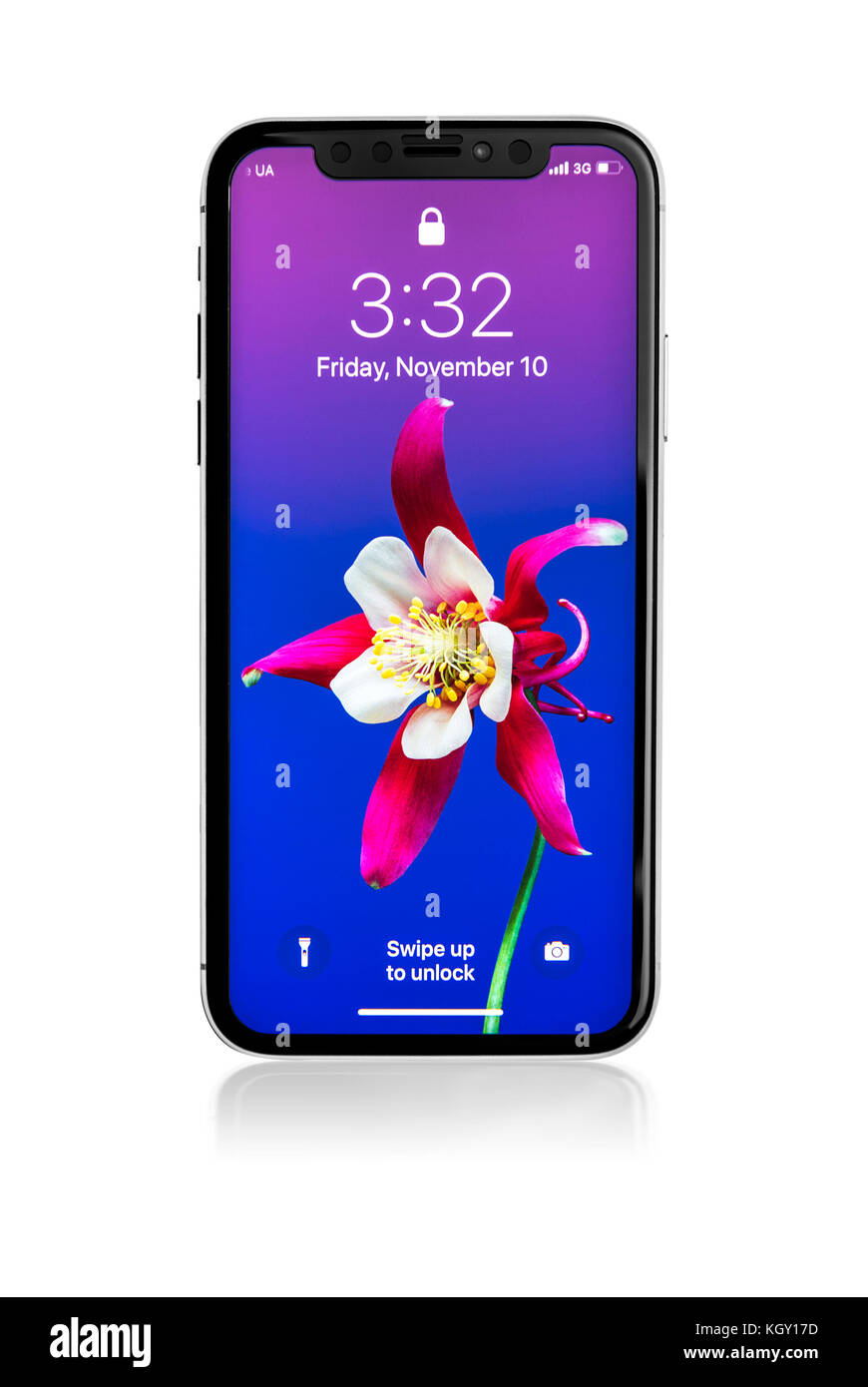 New iPhone X 10 on a white background, studio shot. - Stock Image