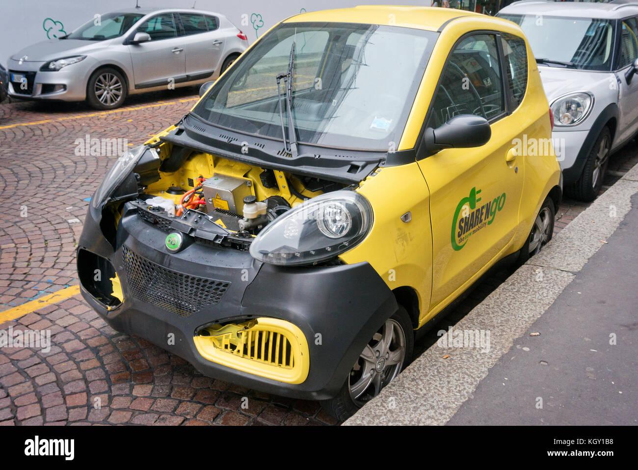 Vandalized car - Stock Image