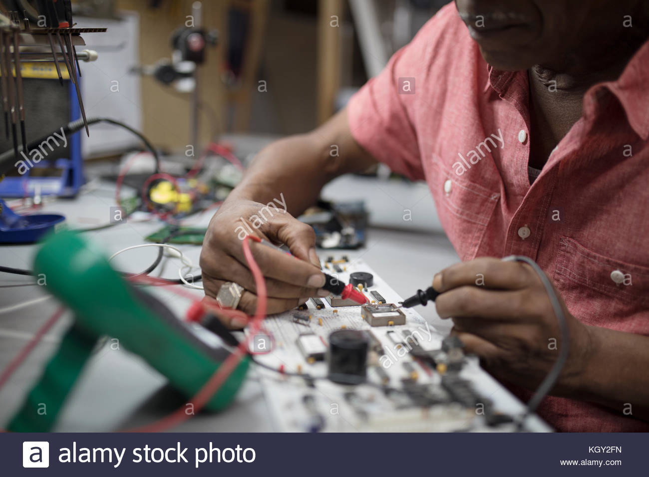 Person Soldering Stock Photos Images Alamy Technician Repairing Electronic Circuit Board With Iron Close Up Male Engineer Using On Electronics Image