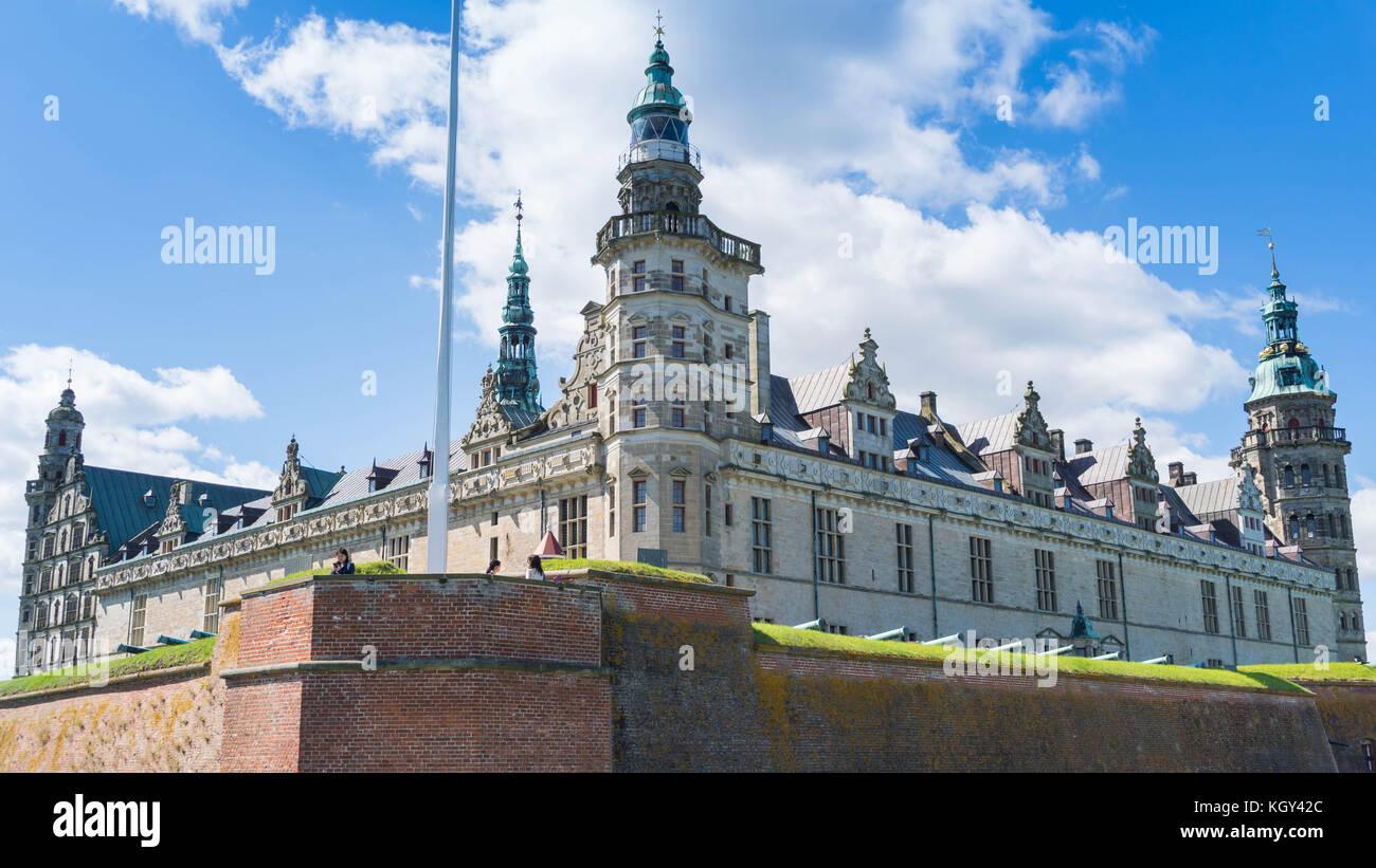 Kronborg Castle from a corner, Helsingør, Denmark - Stock Image