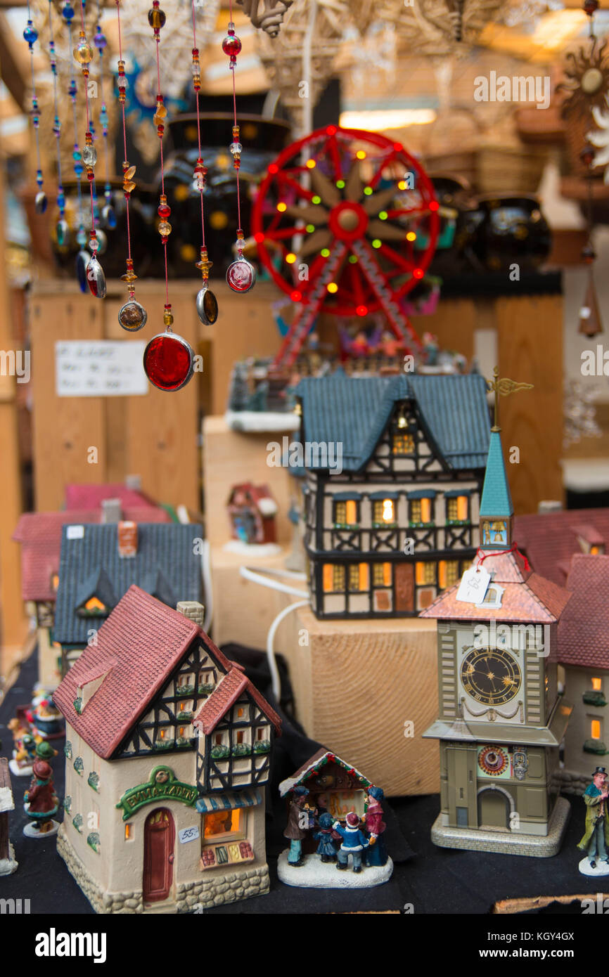 Artisanal miniature houses on sale at the Zurich Christmas Market. - Stock Image