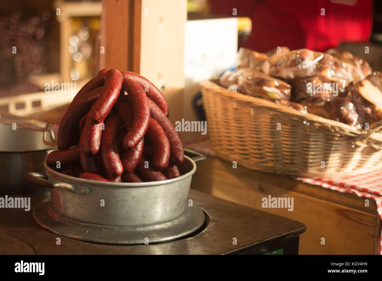 Wurstel and sausages on sale at Zurich christmas market, Swiss. - Stock Image