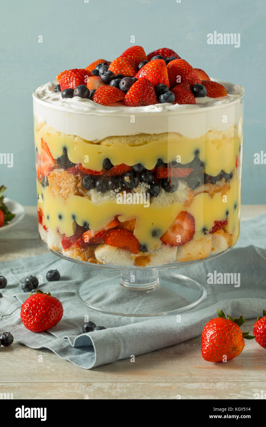 Sweet Homemade Strawberry Trifle Dessert with Custard and Cake - Stock Image