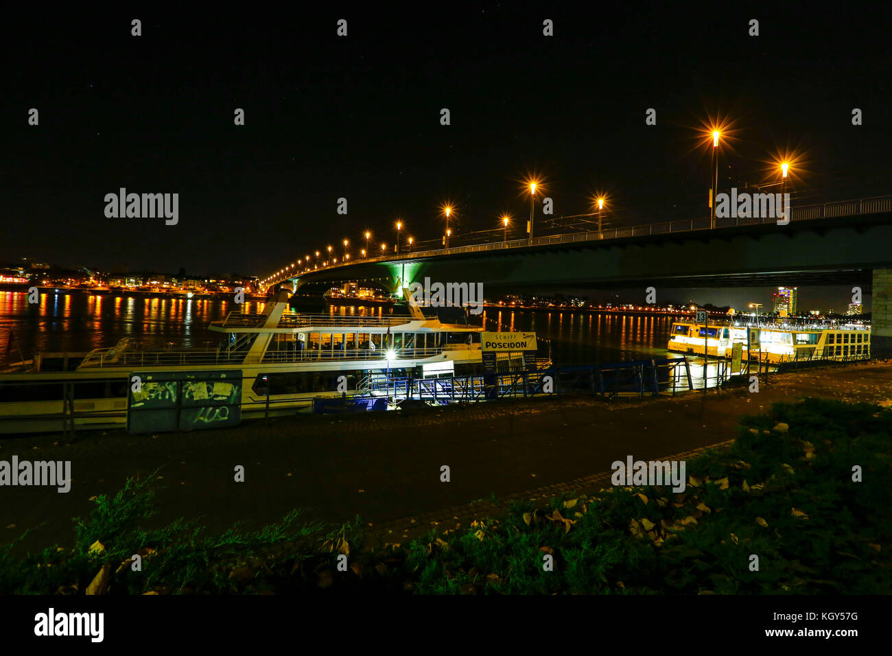Night view of the Rhein River at Bonn in Germany. Stock Photo