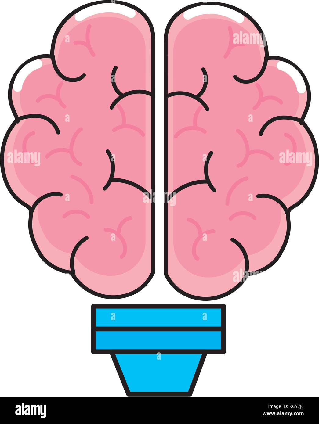 Brain and bulb design - Stock Image