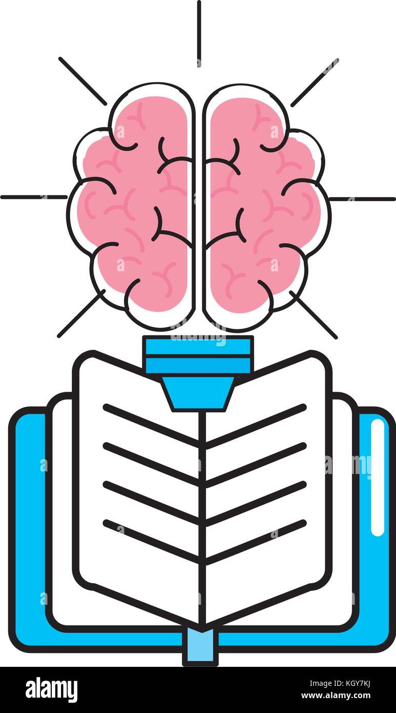 Brain and book design - Stock Image