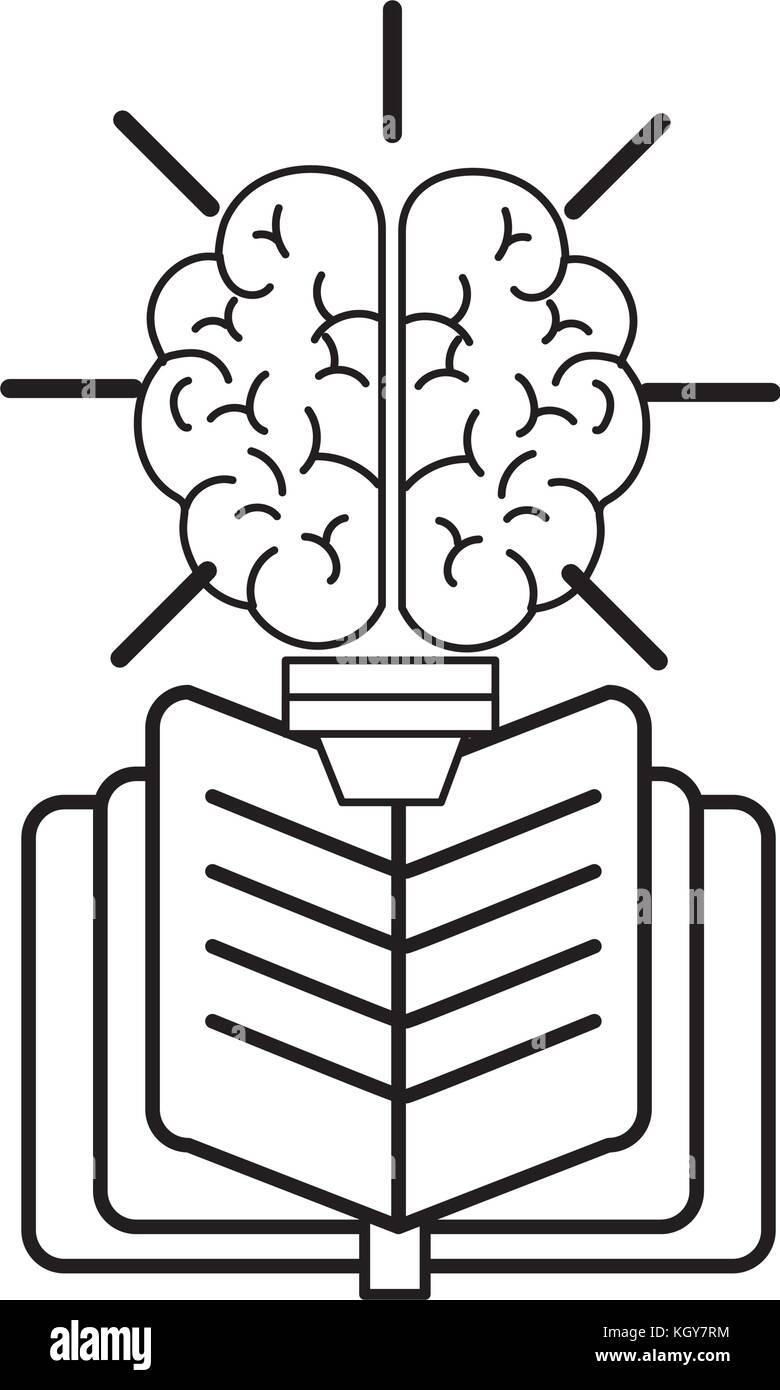 Brain and book design - Stock Image