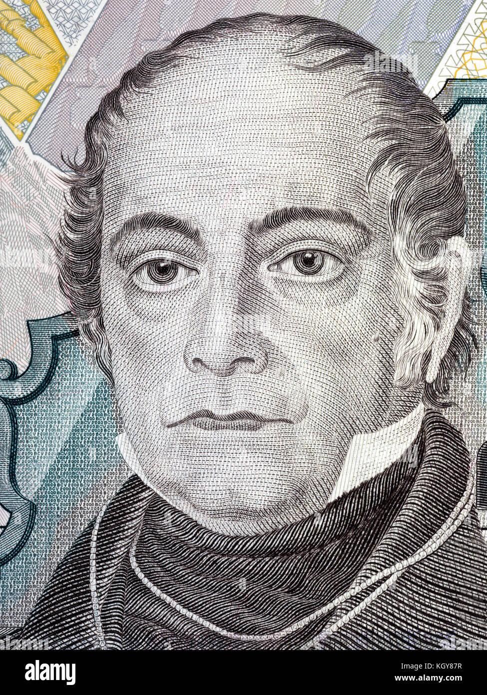 Andres Bello portrait from Venezuelan money - Stock Image