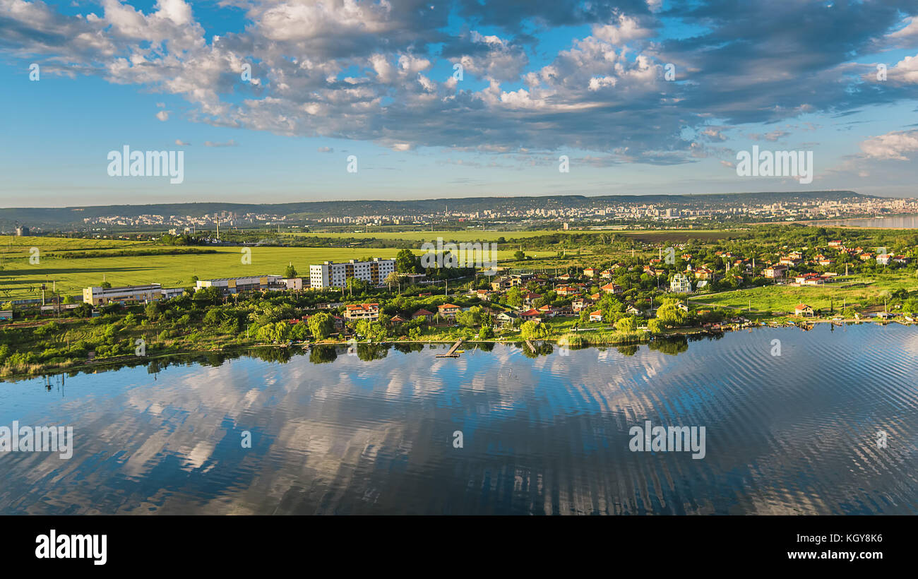 aerial view  city pond stock  aerial view  city pond stock images alamy