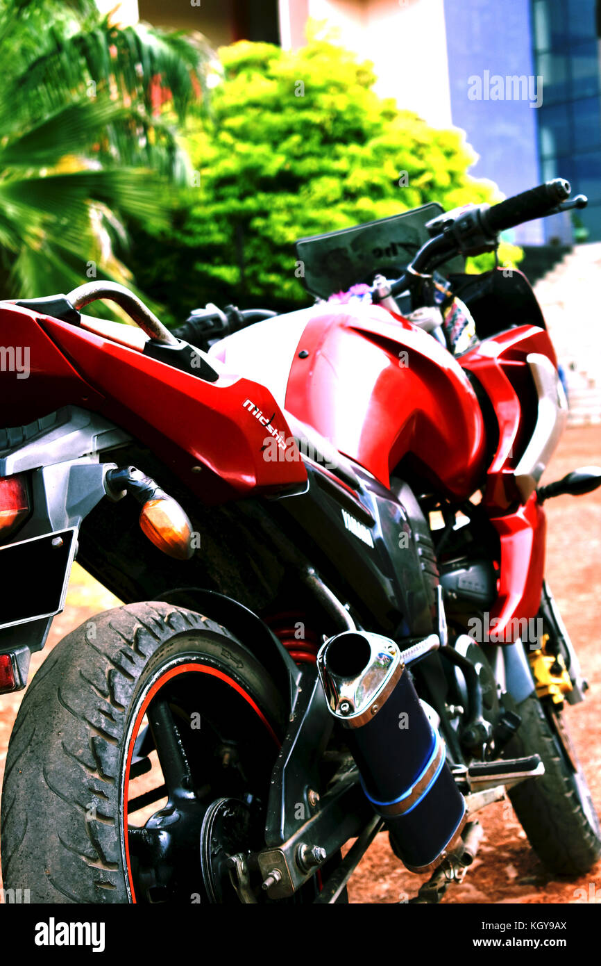 Yamaha fazer with custom exhaust - Stock Image