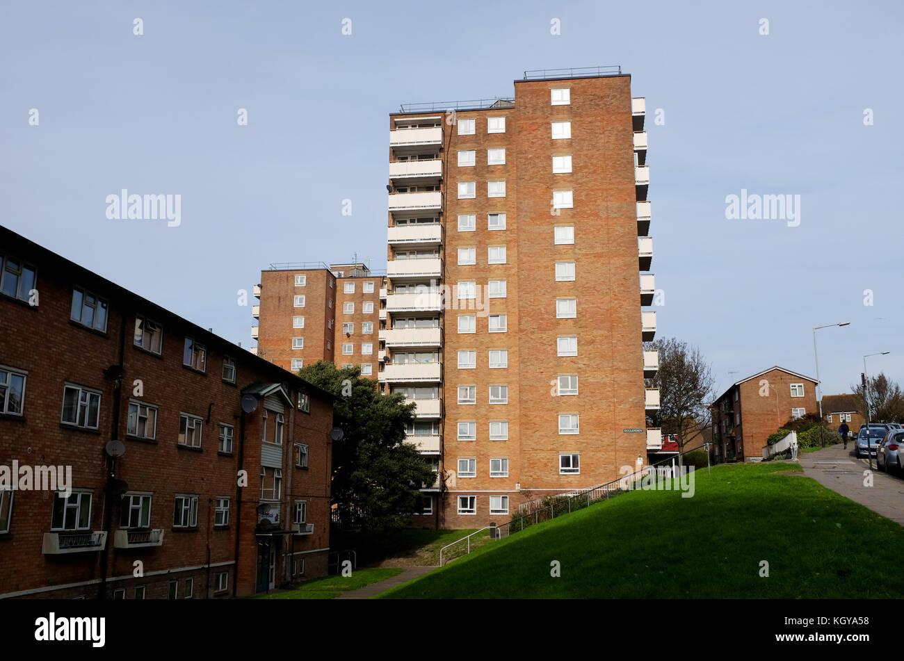 Ecclesden tower block of flats in Brighton Stock Photo