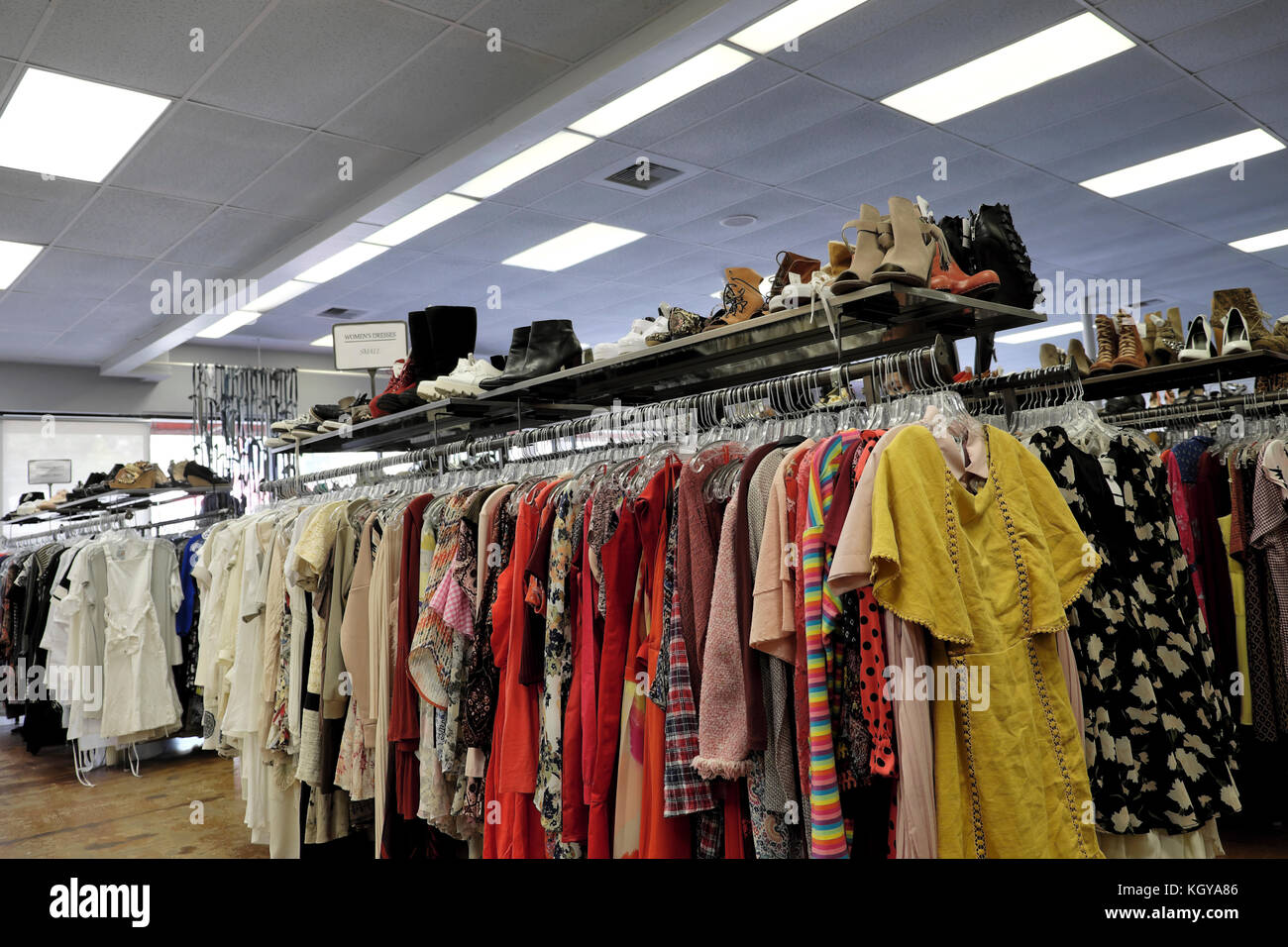 Crossroads Trading Company Second Hand recycled clothing store on Sunset Blvd Silverlake Silver Lake area Los Feliz, - Stock Image