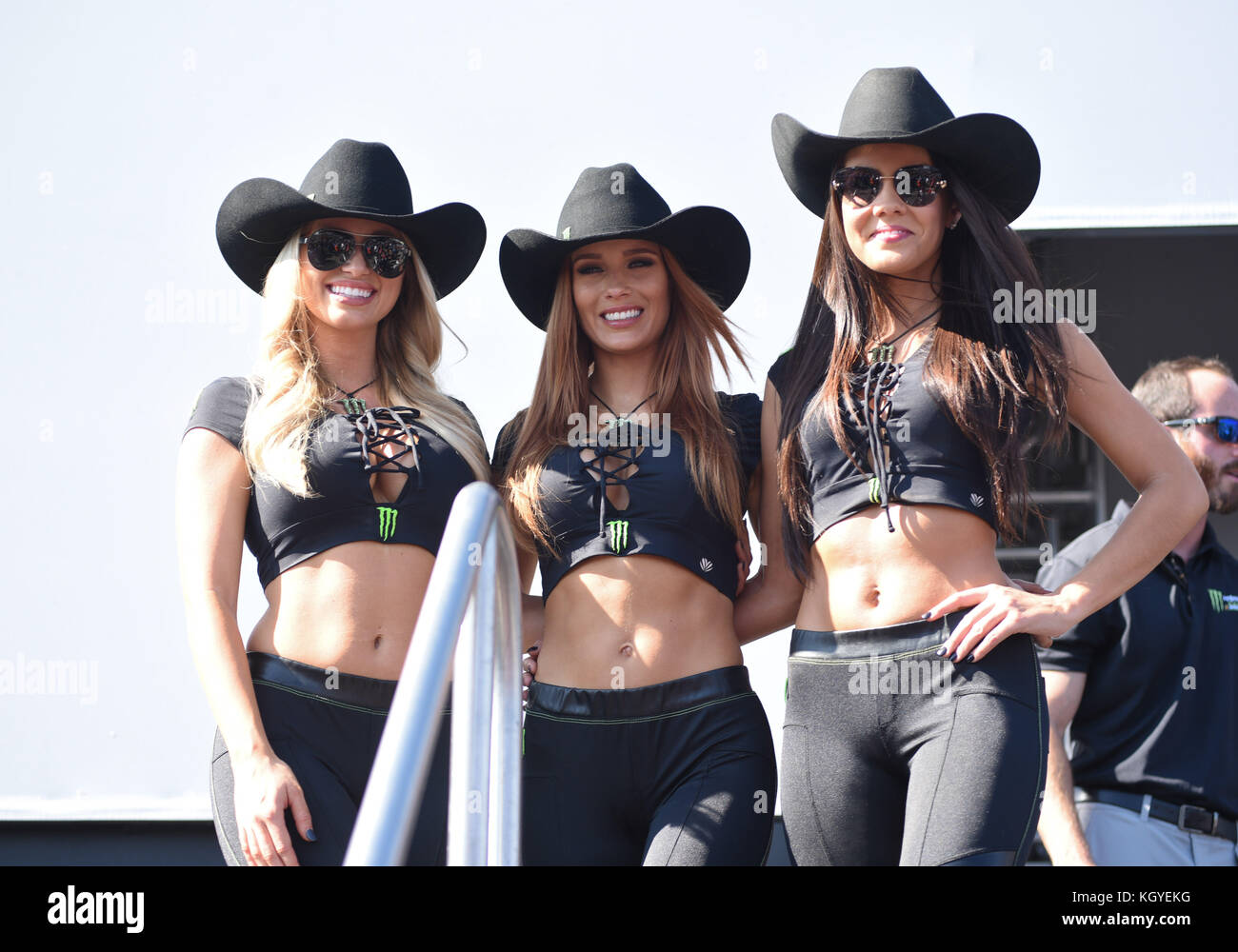 Monster Energy Promo Models Pose For A Picture During The Driver Introductions At Texas Motor Speedway On Saturday November 5 2017