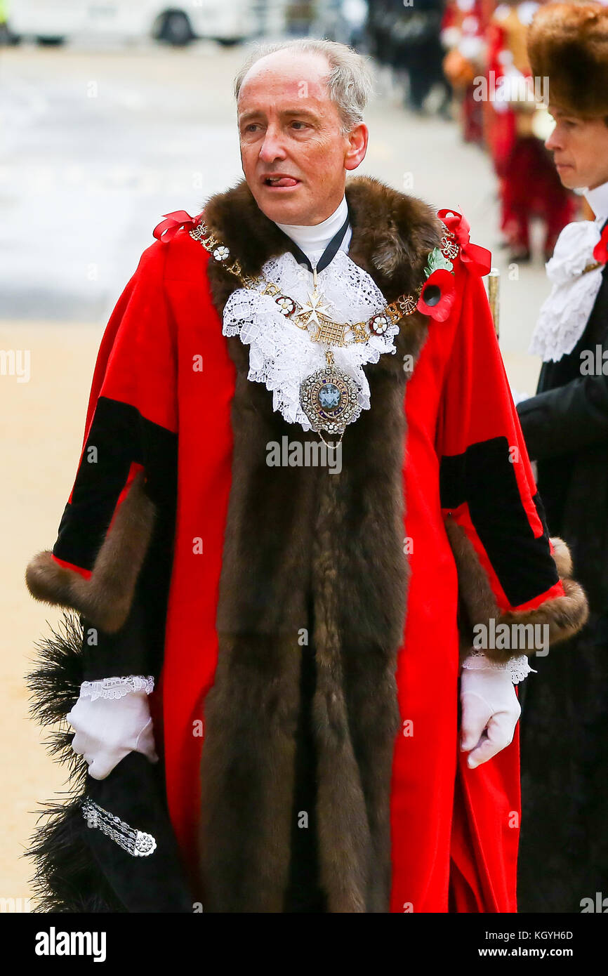 St Paul's Cathedral. London. UK. 11 Nov 2017 - Lord Mayor, Charles Bowman during the The Lord Mayor procession. - Stock Image