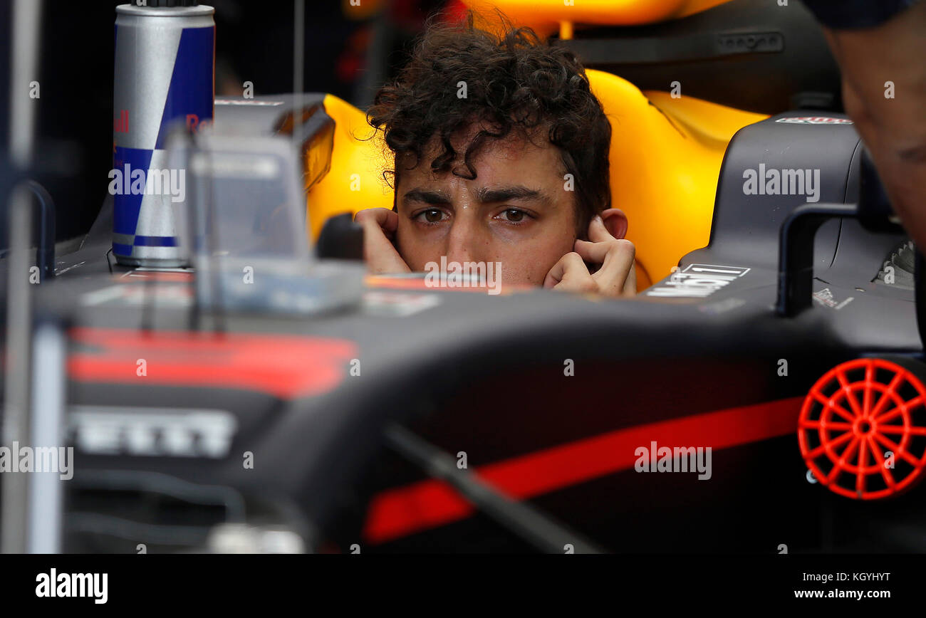 Sao Paulo, Brazil. 11th Nov, 2017. Red Ric Racing driver Daniel Ricciardo prepares for the qualifying session at - Stock Image