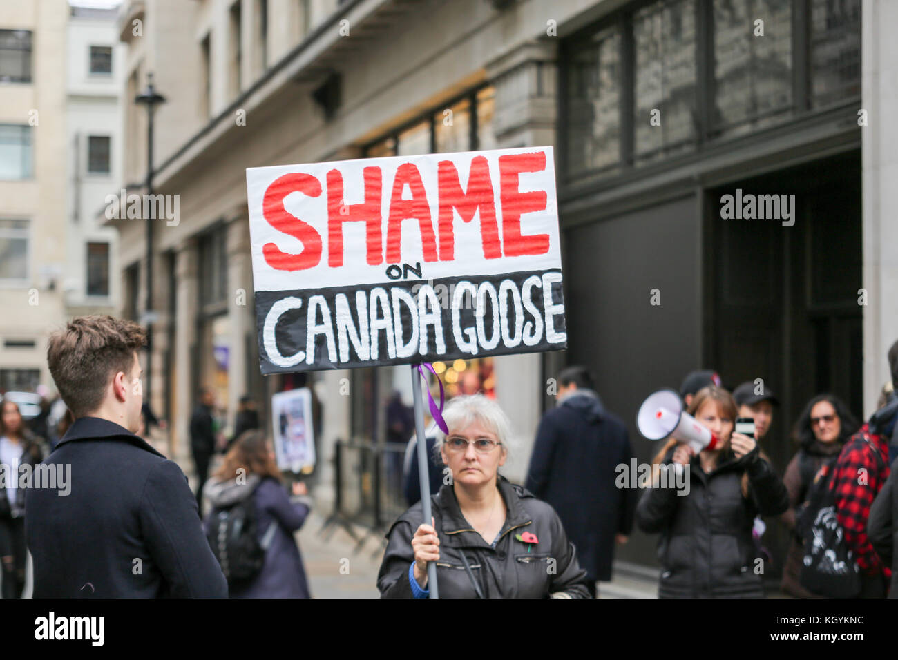 London, UK. 11th Nov, 2017. Anti fur protesters demonstrate outside the Canada Goose Store in Regents Street. Credit: Penelope Barritt/Alamy Live News
