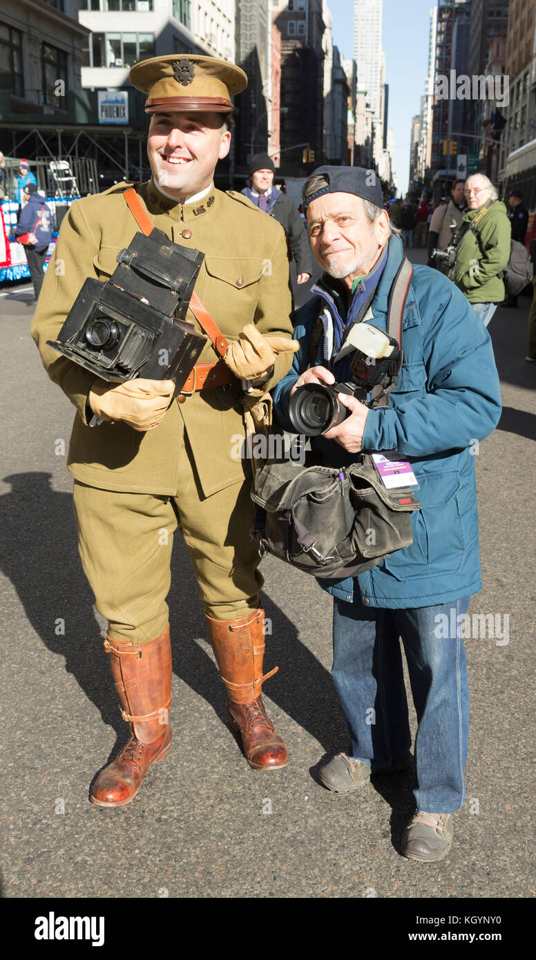 New York, NY - November 11, 2017: Atmosphere with vintage and new cameras during New York 99th annual Veterans Day Parade on 5th Avenue Stock Photo
