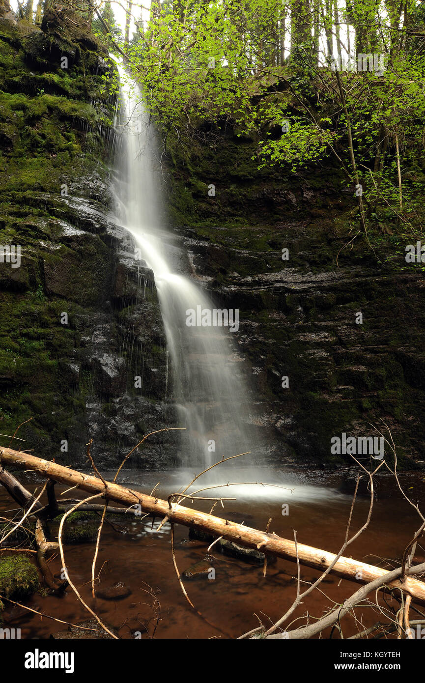 Major waterfall on the Nant Bwrefwr (approx. 30 feet). - Stock Image