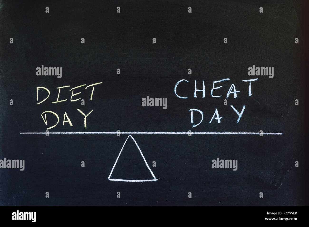 The words Diet Day and Cheat Day on a balance scale. - Stock Image