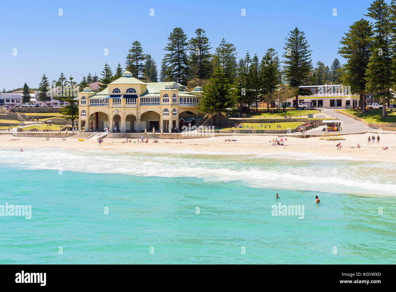 The Indiana Tea House building, the iconic landmark now a restaurant called Indiana on Cottesloe Beach, Cottesloe, - Stock Image