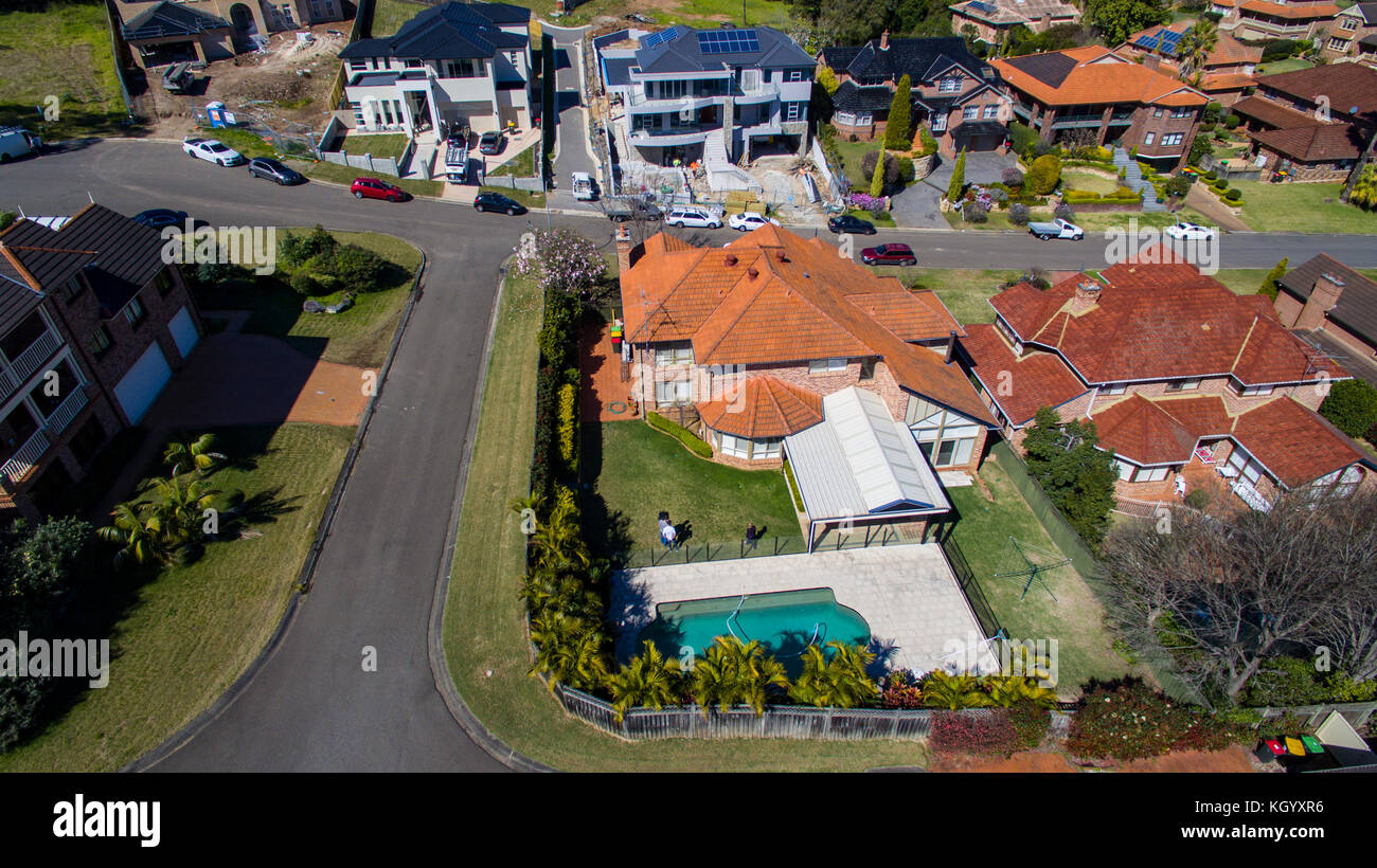 Aerial view of a residential neighbourhood in western Sydney, New South Wales, Australia. - Stock Image