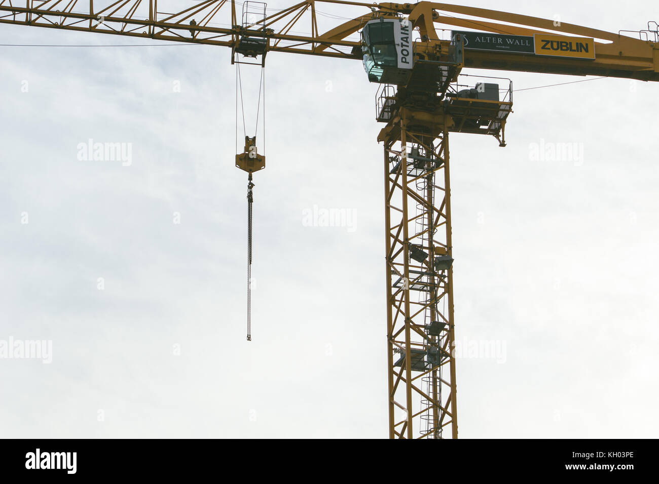 close up of a crane doing construction work - Stock Image