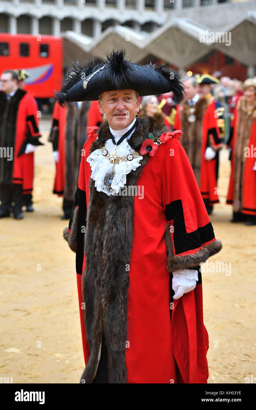The new Lord Mayor of London Charles Bowman ahead of the Lord Mayor's State Coach at Guildhall in London, ahead - Stock Image
