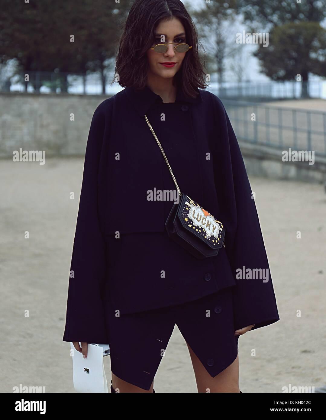 PARIS- 27 September 2017 Woman on the street during the Paris Fashion Week - Stock Image