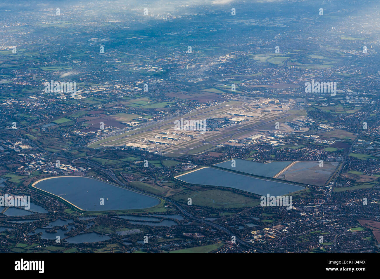 Aerial view of London Heathrow airport looking from the SW. - Stock Image