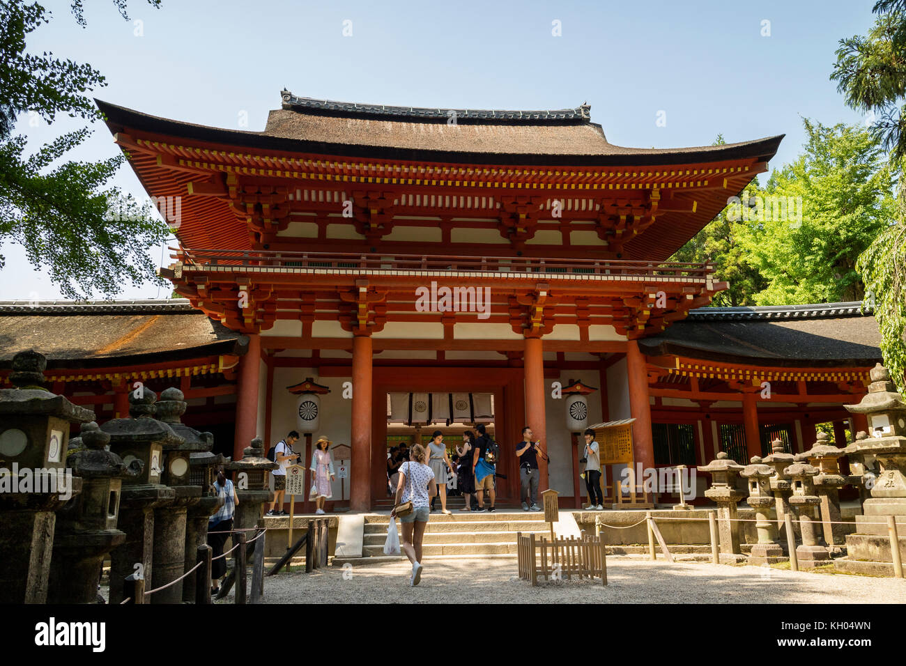 Nara - Japan, May 29, 2017: Entrance to the Kasuga Taisha shrine, registered as a UNESCO World Heritage Site as - Stock Image