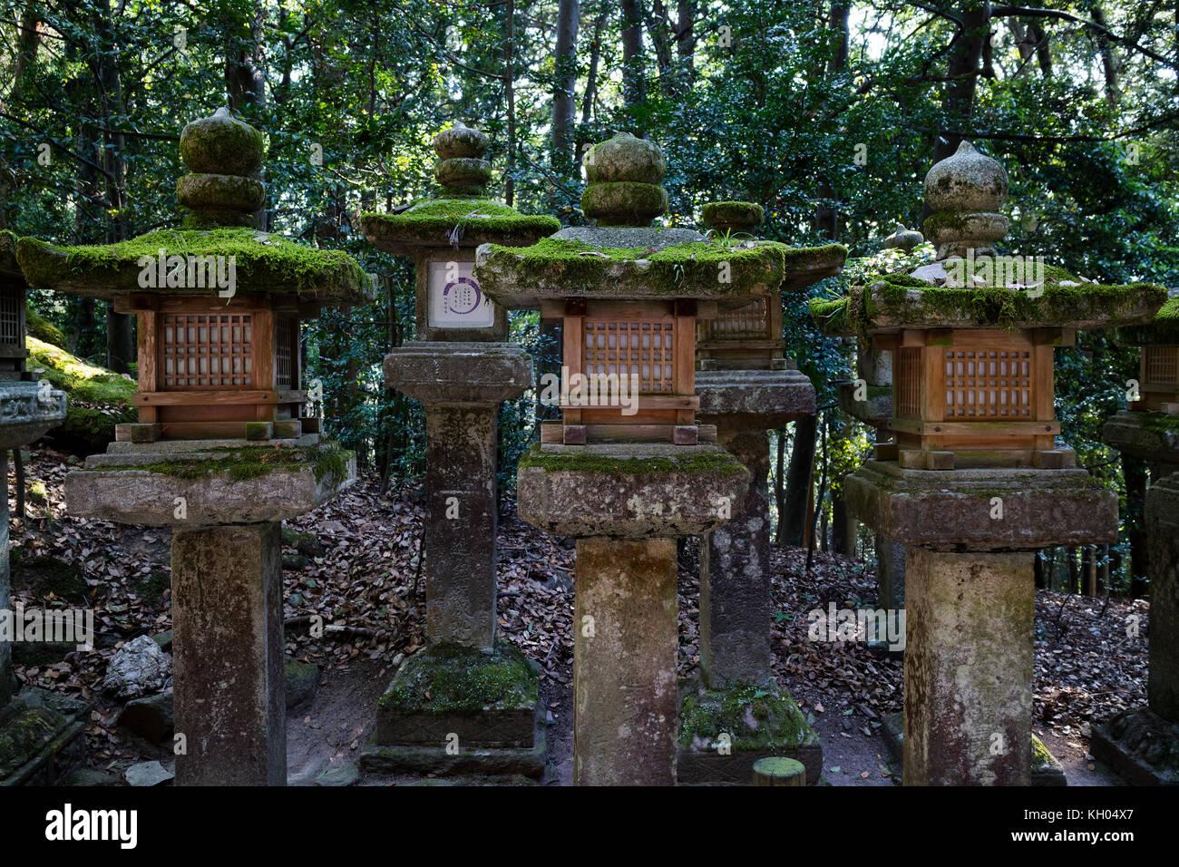 Nara - Japan, May 29, 2017:  Stone lanterns covered with moss along the path that lead up to the Kasuga Taisha shrine - Stock Image