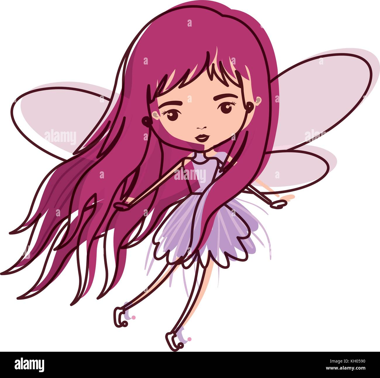 girly fairy flying with wings and long hair in watercolor silhouette - Stock Image