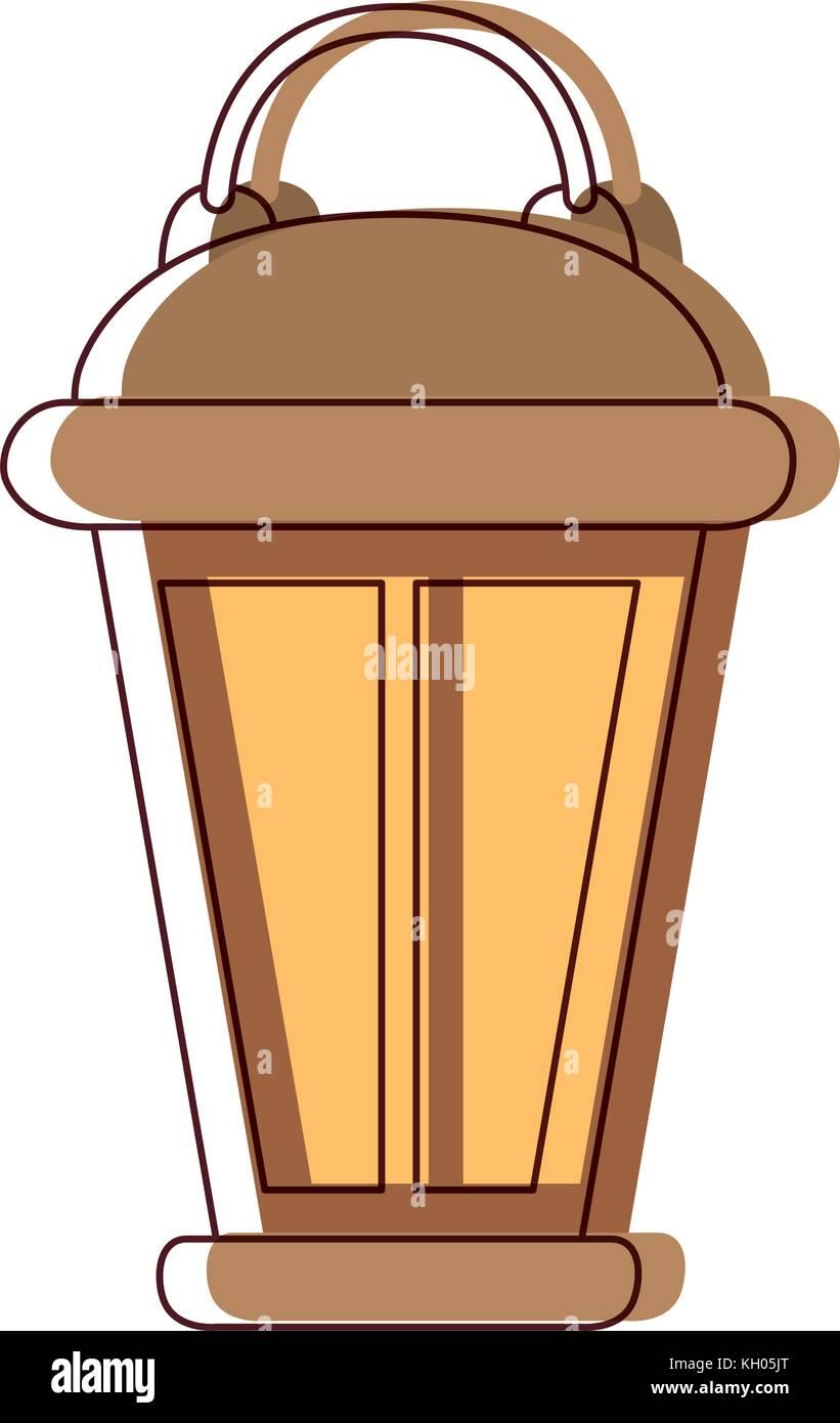 vintage lantern in watercolor silhouette - Stock Vector