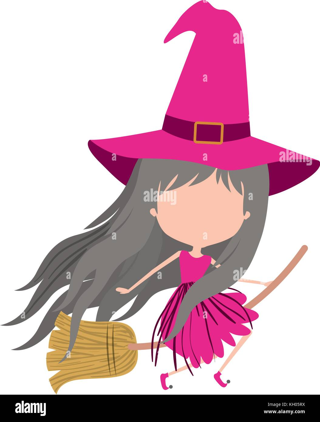 Cute Witch Flying In Broom And Without Face In Colorful Silhouette On Stock Vector Image Art Alamy
