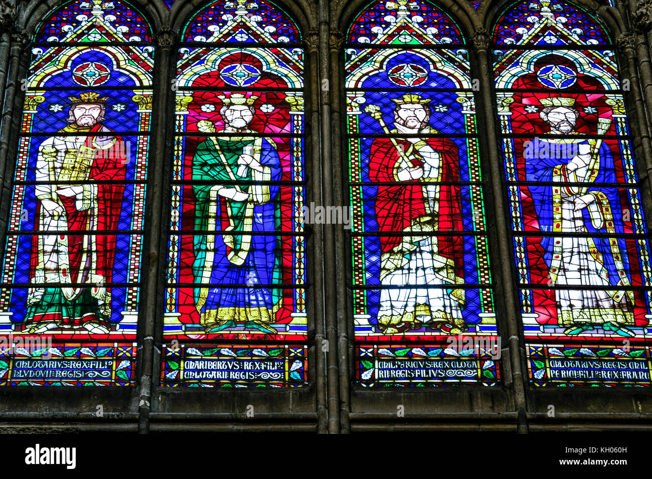 France. Seine-Saint-Denis (93). Basilica of Saint-Denis. Necropolis of the kings of France. Stained glass windows - Stock Image