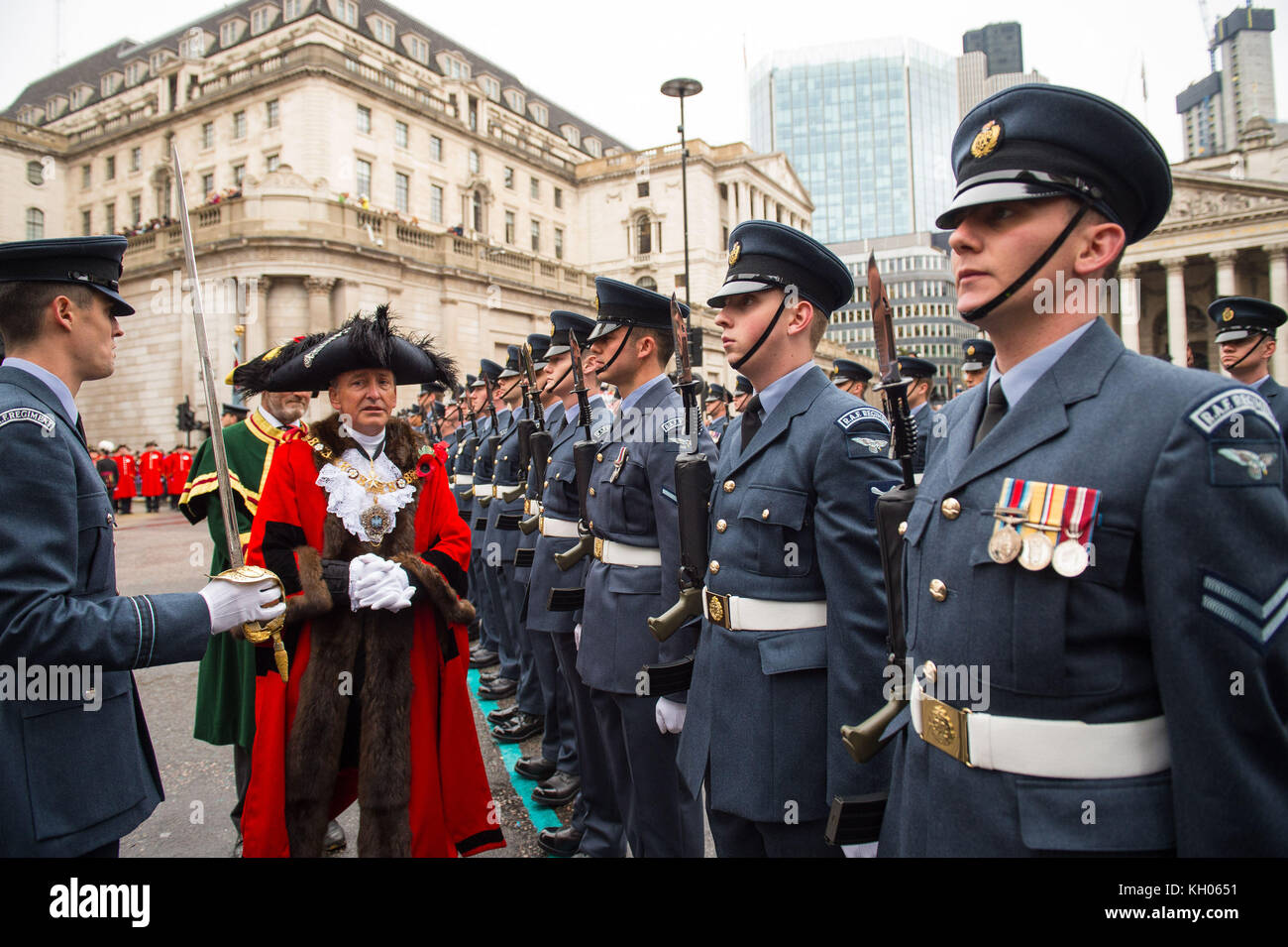 The new Lord Mayor of London Charles Bowman inspects troops outside Mansion House during the Lord Mayor's Show - Stock Image