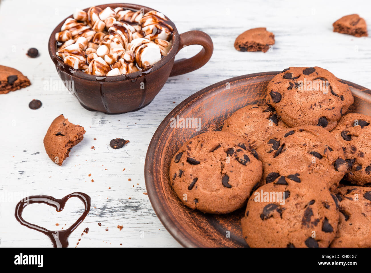 Hot chocolate with marshmallow and chocolate cookies. Love. Heart. Valentine Day - Stock Image