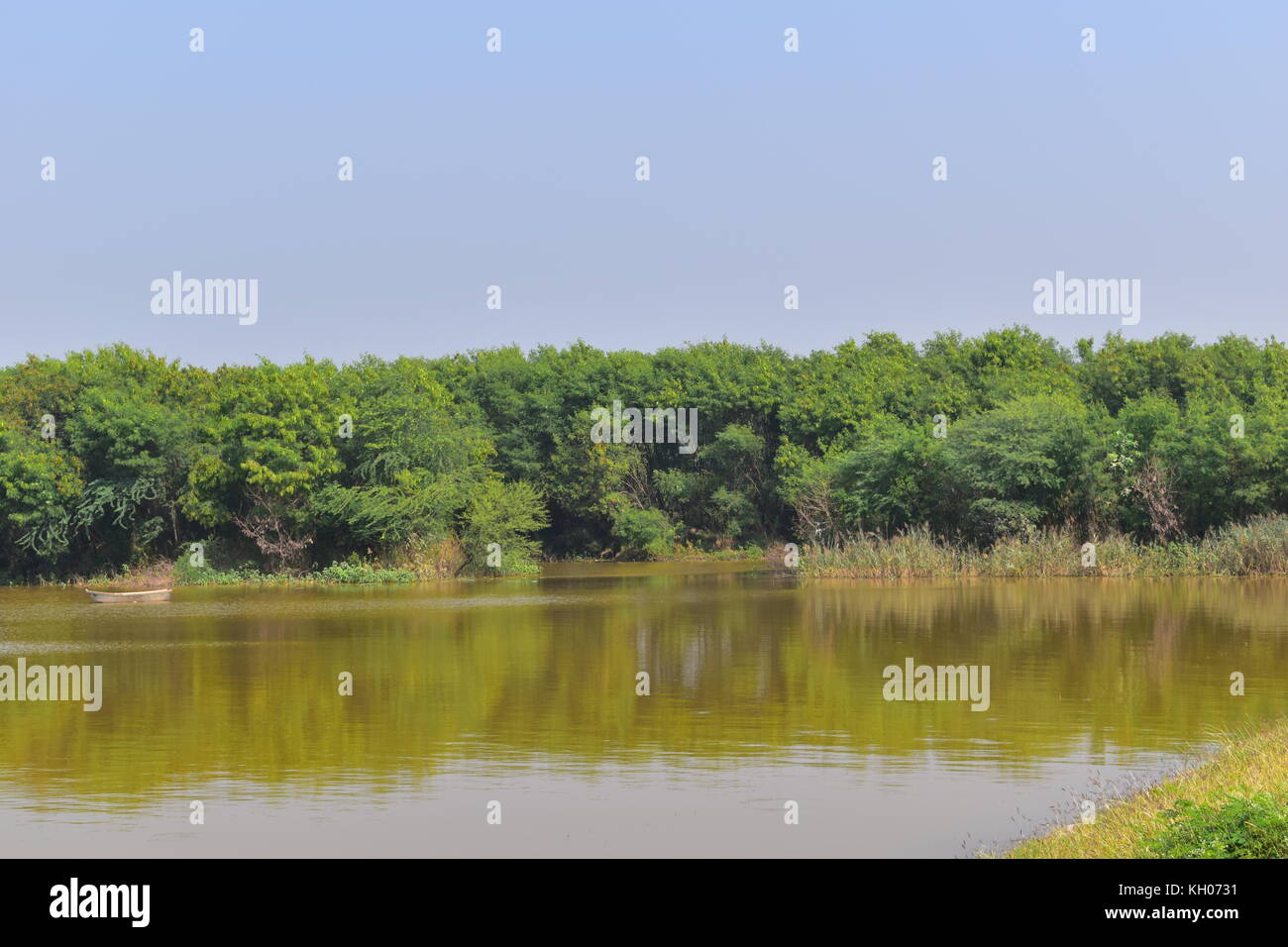 A view of regulator end of Sukhna Lake, Chandigarh, India. Stock Photo