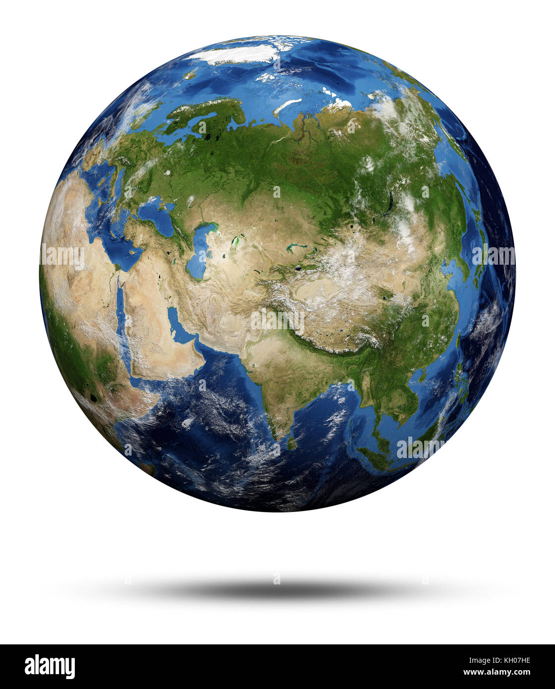 Planet Earth. Earth globe 3d rendering, maps courtesy of NASA - Stock Image